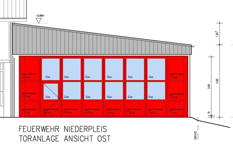 Bauzeichnung der neuen Halle